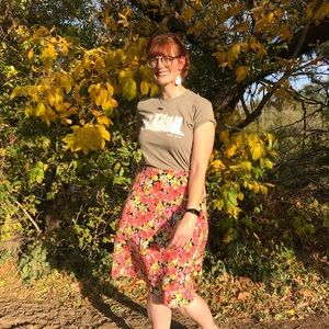 Vintage Pink and Yellow Floral Midi Skirt